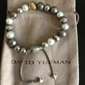 David Yurman Silver/pearl/18k gold beads bracelet